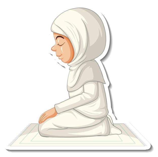 Un modèle d'autocollant avec une fille musulmane assise et priant