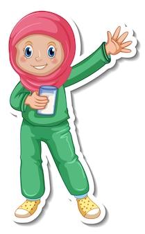 Un modèle d'autocollant avec une fille musulmane en costume de pyjama