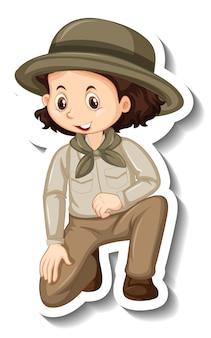 Un modèle d'autocollant avec une fille en personnage de dessin animé de tenue de safari