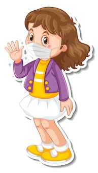 Un modèle d'autocollant avec une fille portant un personnage de dessin animé de masque médical