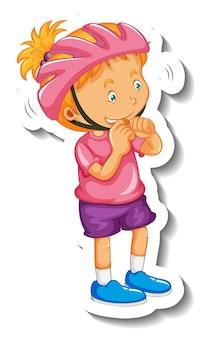 Modèle d'autocollant avec une fille porte un personnage de dessin animé de casque isolé