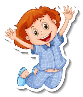 Modèle d'autocollant avec une fille porte un personnage de dessin animé de pyjama isolé