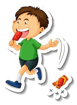 Modèle d'autocollant avec un garçon jeter des déchets sur le personnage de dessin animé de sol isolé