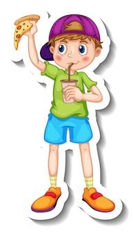Modèle d'autocollant avec un garçon mangeant un personnage de dessin animé de malbouffe isolé