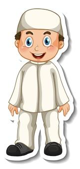 Un modèle d'autocollant avec un garçon musulman en personnage de dessin animé de pose debout