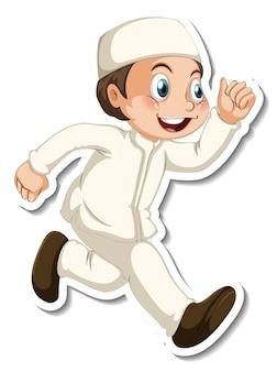 Un modèle d'autocollant avec un garçon musulman en personnage de dessin animé de pose de marche