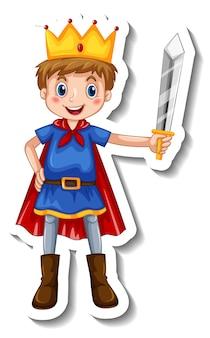Modèle d'autocollant avec un garçon portant un costume de prince isolé