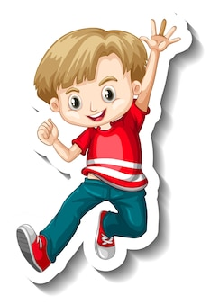 Un modèle d'autocollant avec un garçon portant un personnage de dessin animé de t-shirt rouge