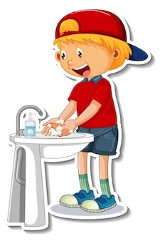 Un modèle d'autocollant avec un garçon se lavant les mains avec du savon