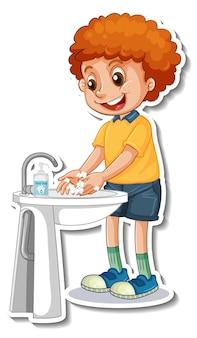 Un modèle d'autocollant avec un garçon se lavant les mains