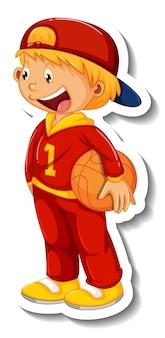 Modèle d'autocollant avec un garçon tenant un basket-ball isolé