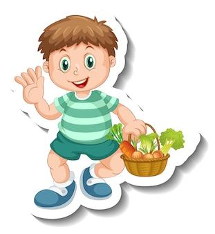 Modèle d'autocollant avec un garçon tenant un panier de légumes isolé