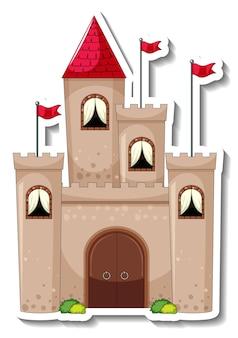 Modèle d'autocollant avec grand château en style cartoon isolé