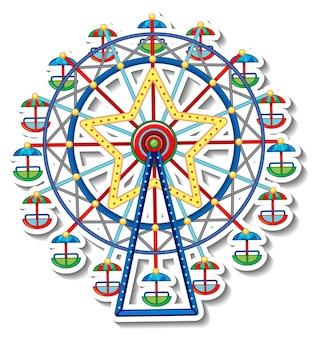 Modèle d'autocollant avec la grande roue du cirque en style cartoon