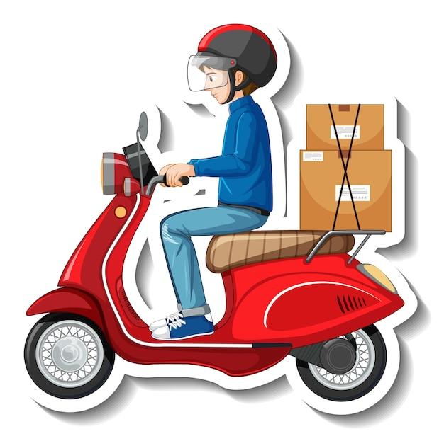 Un modèle d'autocollant avec un livreur sur un scooter
