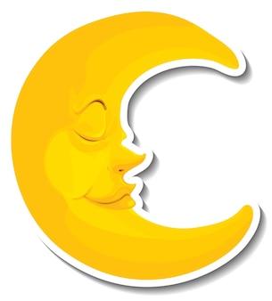Modèle d'autocollant avec la lune de visage isolée