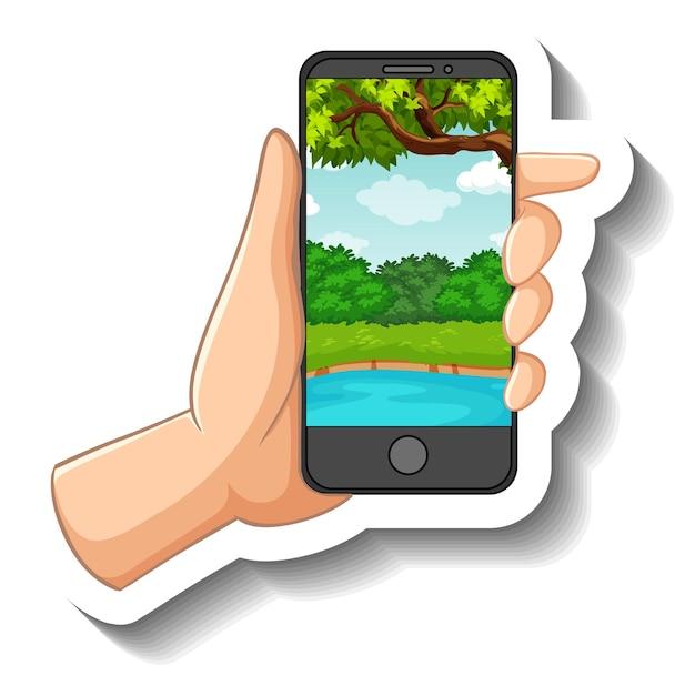 Un Modèle D'autocollant Avec Une Main Tenant Un Téléphone Intelligent Vecteur gratuit