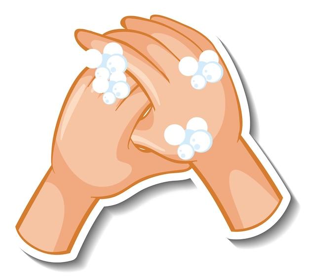 Un modèle d'autocollant de mains avec bulle de savon