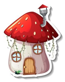 Un modèle d'autocollant avec mushroom house isolé
