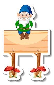 Un modèle d'autocollant avec nain de jardin assis sur une bannière en bois vierge
