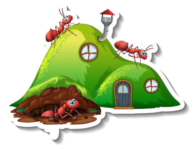 Un modèle d'autocollant avec un nid de fourmis fantasy isolé