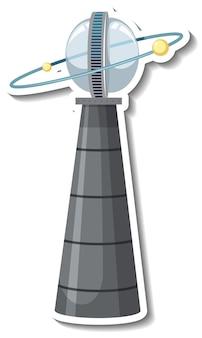 Modèle d'autocollant avec objet volant non identifié (ovni) isolé