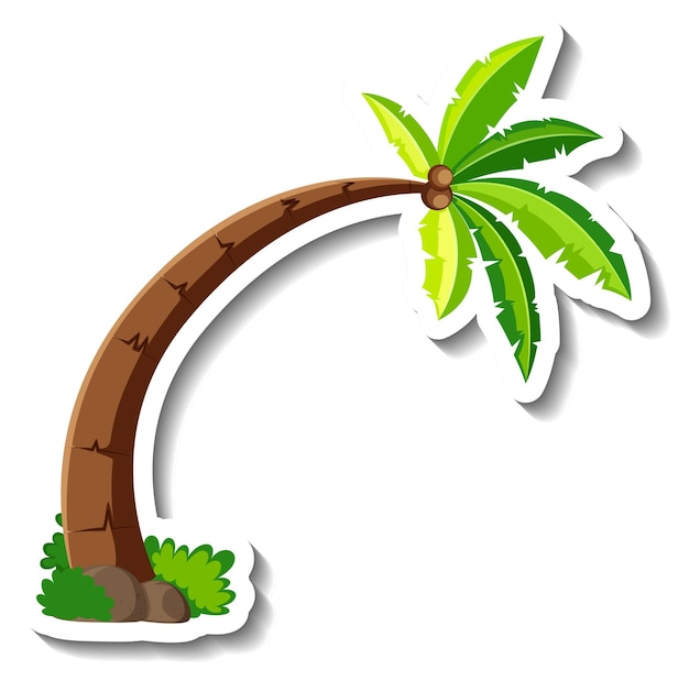 Un modèle d'autocollant avec palmier ou cocotier isolé
