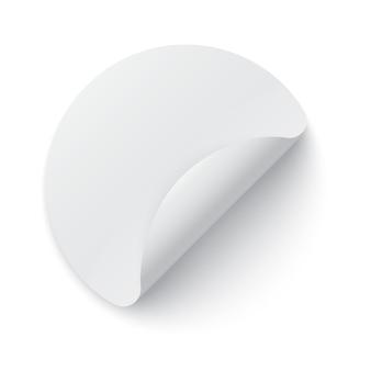 Modèle d'autocollant en papier rond avec bord plié et ombre