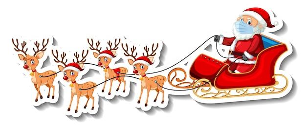 Un modèle d'autocollant avec le père noël sur un traîneau et des rennes