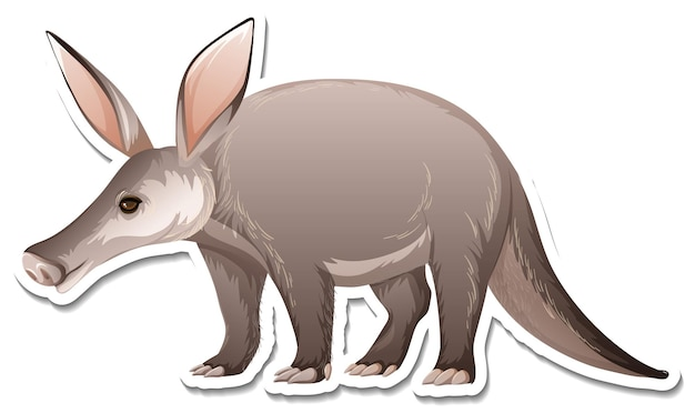 Un modèle d'autocollant de personnage de dessin animé aardvark