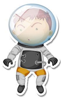Un modèle d'autocollant avec un personnage de dessin animé d'astronaute isolé