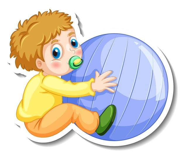 Modèle d'autocollant avec un personnage de dessin animé de bébé garçon isolé