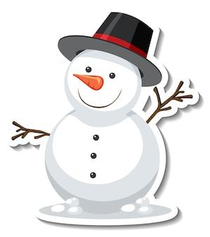 Modèle d'autocollant avec personnage de dessin animé de bonhomme de neige isolé