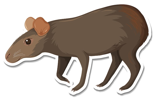 Un modèle d'autocollant de personnage de dessin animé capybara noir