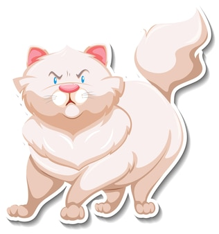 Un modèle d'autocollant de personnage de dessin animé de chat