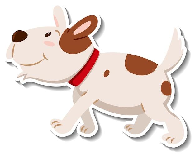 Un modèle d'autocollant de personnage de dessin animé de chien