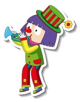 Modèle d'autocollant avec personnage de dessin animé de clown heureux isolé