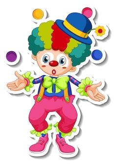Modèle d'autocollant avec personnage de dessin animé de clown heureux