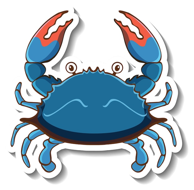 Modèle d'autocollant avec un personnage de dessin animé de crabe bleu isolé