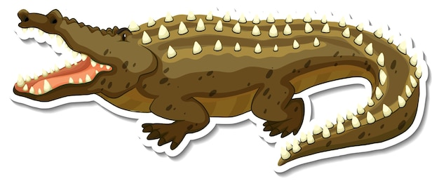 Un modèle d'autocollant de personnage de dessin animé de crocodile
