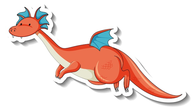 Modèle d'autocollant avec personnage de dessin animé de dragon fantastique