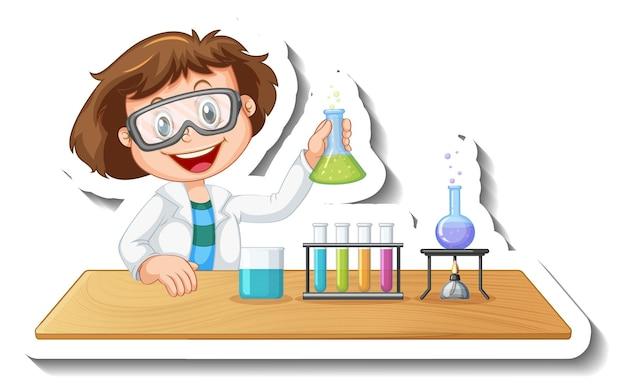 Modèle d'autocollant avec le personnage de dessin animé d'un étudiant faisant une expérience chimique