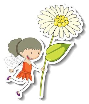 Modèle d'autocollant avec un personnage de dessin animé de fée tenant une fleur isolée