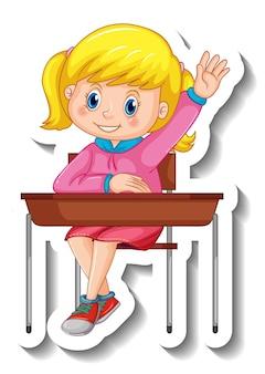 Modèle d'autocollant avec un personnage de dessin animé de fille étudiante isolé