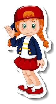 Modèle d'autocollant avec un personnage de dessin animé de fille isolé