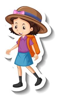 Un modèle d'autocollant avec un personnage de dessin animé de fille mignonne