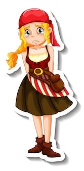 Un modèle d'autocollant avec un personnage de dessin animé de fille pirate isolé