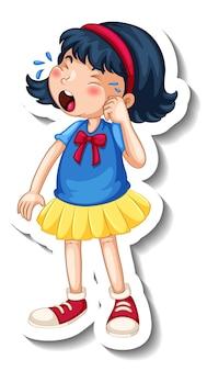 Modèle d'autocollant avec un personnage de dessin animé de fille qui pleure isolé
