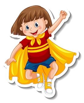 Modèle d'autocollant avec un personnage de dessin animé de fille de super héros isolé