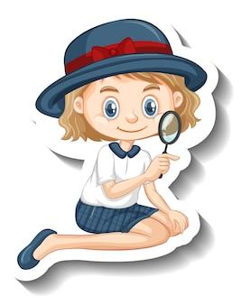 Un modèle d'autocollant de personnage de dessin animé de fille